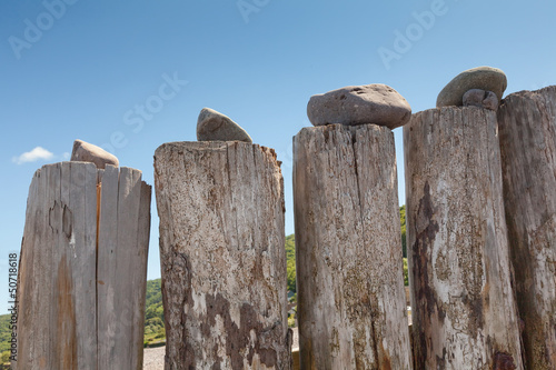 Close-up of beach groynes