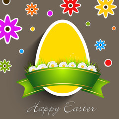 Easter egg with ribbon on floral background.