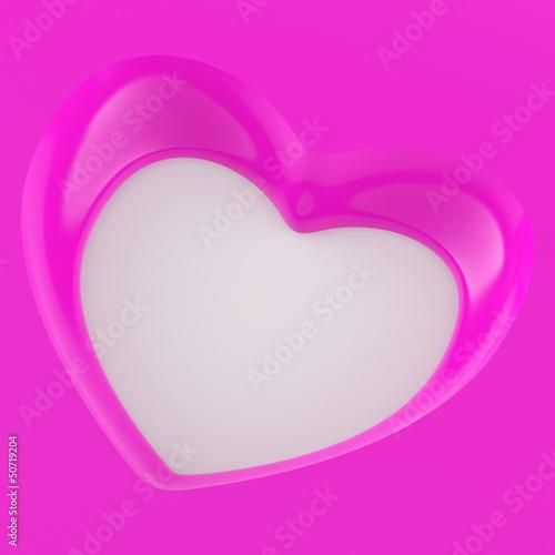 3D Herz Flyer Quadratisch - Pink Weiß