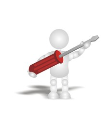 builder - tool (screwdriver) - 3D people