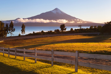 View of the city Puerto Varas, llanyauihue Lake, Chile
