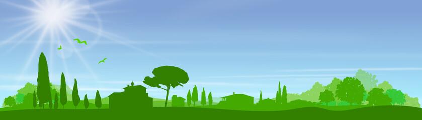 Silhouette mediterrane Landschaft