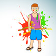 Indian colorful festival Holi celebration background with young