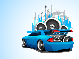Abstract Musical Car with loud speakers.