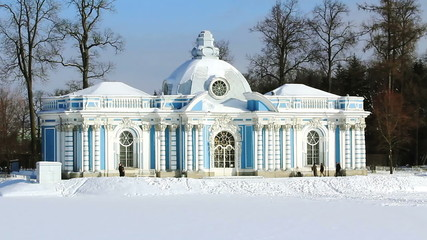 Grotto Pavilion and tourists in Pushkin, St. Petersburg, Rus