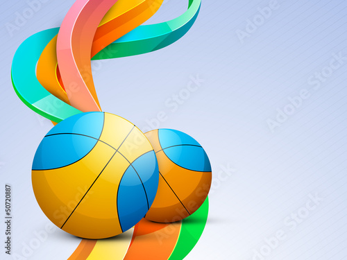 Volleyball isolated on colorful wave background.