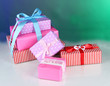 Various gift boxes on a colorful background