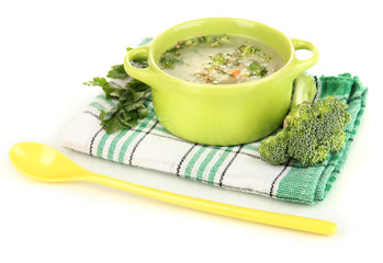 Diet soup with vegetables in pan isolated on white