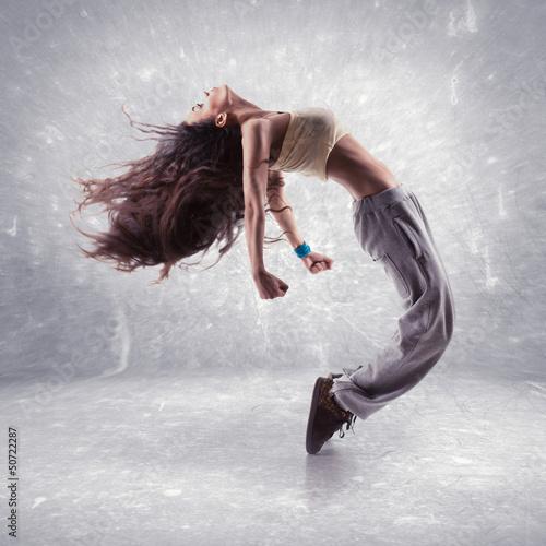 Keuken foto achterwand Dance School young woman hip hop dancer