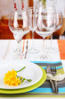 Table setting with glasses for different drinks