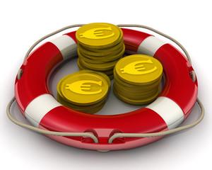 Концепция спасения финансовых средств. Монеты с символами евро