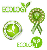 Ecology-related vector graphic element kit