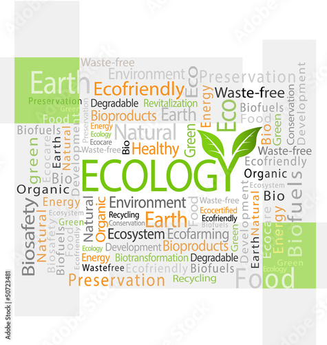 Ecology-related tag cloud vector illustration