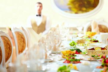 set table in luxury restaurant