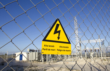 danger signal electrocuted - power plant