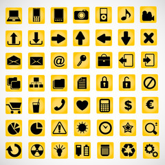 49 icons on a yellow background