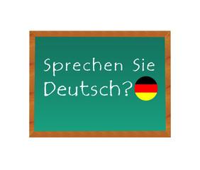 Pizarra con el texto de Habla Usted Alemán en idioma alemán