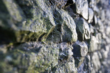 Stone wall glints in sunlight