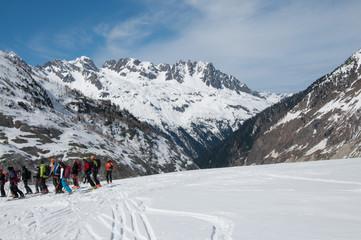 Escursionisti giù dalla Vallée Blanche 2