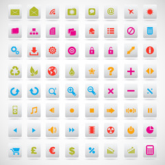 set of icons pink, green, yellow