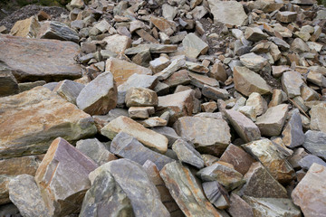 Close up of large rocks at quarry