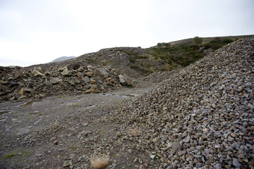 Piles of rock in quarry