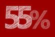 55 % Rabatt Aktion Angebot Sonderangebot  Weiss ROT Scribble
