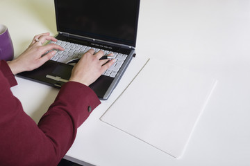 Cropped image of businesswoman's hands using laptop at desk