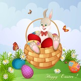 Easter greeting card with cute bunny in basket with Easter eggs