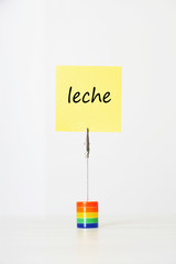 "Sticky notepaper with Spanish text ""leche"" (Milk) clipped to a multicolored card holder"