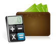 wallet and modern calculator