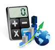 global business graph and modern calculator