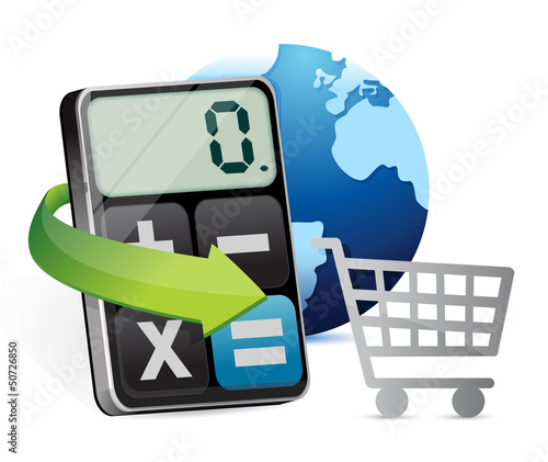 international shopping and modern calculator