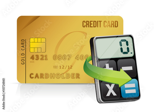 credit card and modern calculator