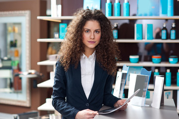 attractive woman receptionist