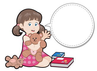 Cartoon little girl playing with toy bears