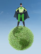 Eco superhero and green planet