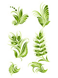 flower green elements collection Ukraine ethnic style vector