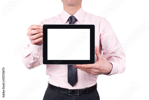man holding blank digital tablet with copy space and clipping pa