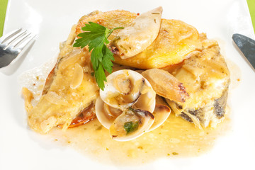 fish with seafood sauce