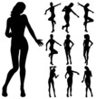 attractive girl dancing silhouette