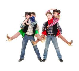 cabaret dancer team dressed in cowboy costumes