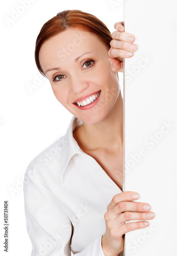 young business woman with a blank signboard