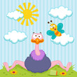 Ostrich and butterfly vector