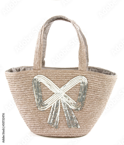 Big silver sequins bow raffia basket tote