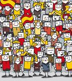 Supporters espagnols en délire qui encouragent leur équipe poster