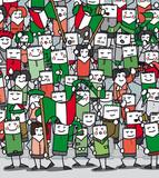 Supporters Italiens en délire qui encourage leur équipe poster