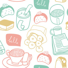 Tea and sweets seamless pattern