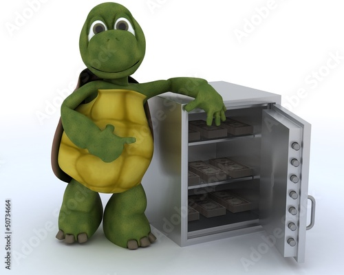 tortoise with a safe full of money