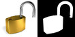 Padlock with alpha mask for easy isolation
